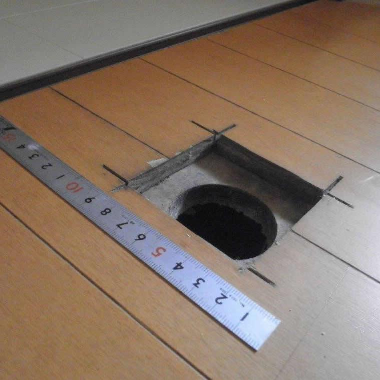 リフォーム後排水口穴補修 補修前